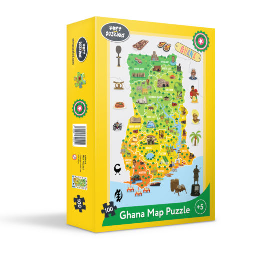 gelber Karton mit Landkarte Ghana als Puzzle
