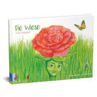 """Cover """"Die Wiese"""" von Susan Bagdach. Eine rote Rose mit menschlichem Gesicht in einer grünen Wiese."""