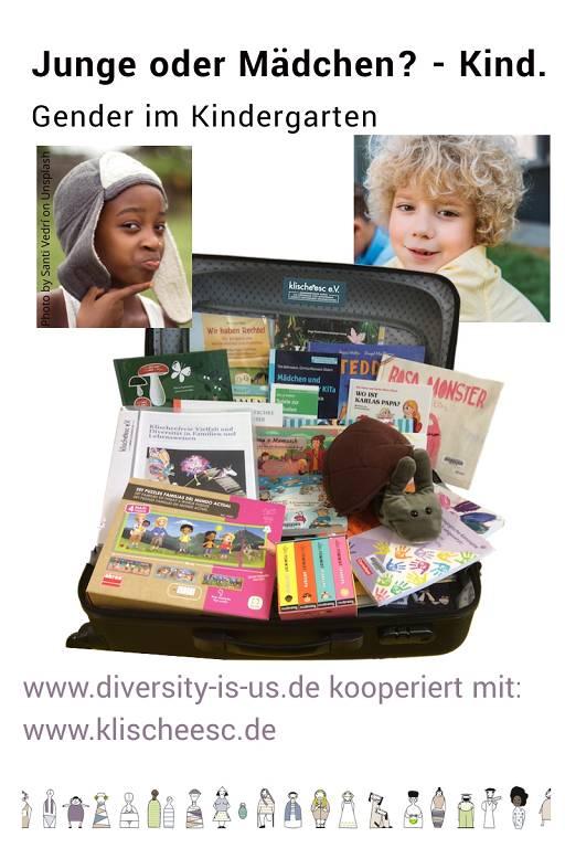 diversity medienkoffer: Bild eines Koffers voller Bücher, Bild eines Kindes mit blonden Locken. gender im Kindergarten