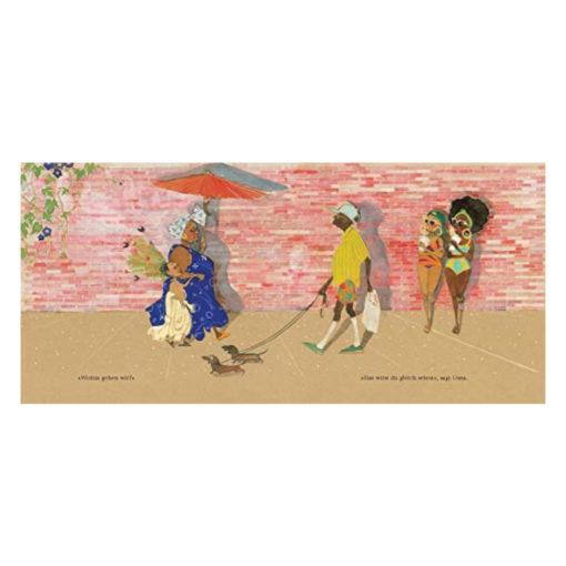 """Julian (als Meerjungfrau verkleidet) mit seiner Oma auf dem Weg zur Parade - Innenseite des Buches """"Julian ist eine Meerjungfrau"""""""