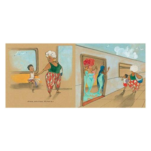 """Julian und seine Oma steigen aus der S-Bahn und verabschieden sich von 3 Meerjungfrauen - Innenseite des Buches """"Julian ist eine Meerjungfrau"""""""