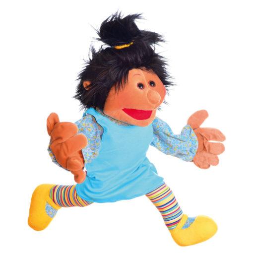 Schwarze Handpuppe Amy. Glatte Schwarze Haare, türkises Kleid, gelbe Schuhe