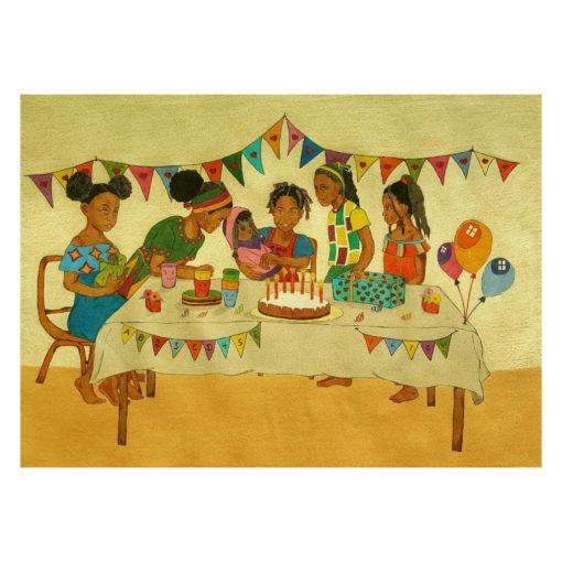 Innenseite vom Buch Odo - eine Familie sitzt am Tisch und feiert Kindergeburtstag
