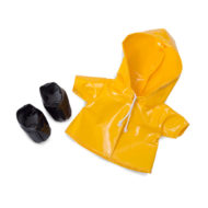 "Regentage Outfit gelbe Regenjacke und schwarze Regenschuhe ""rainy-day-set"" fuer Rubens Barn Cutie Pppen"