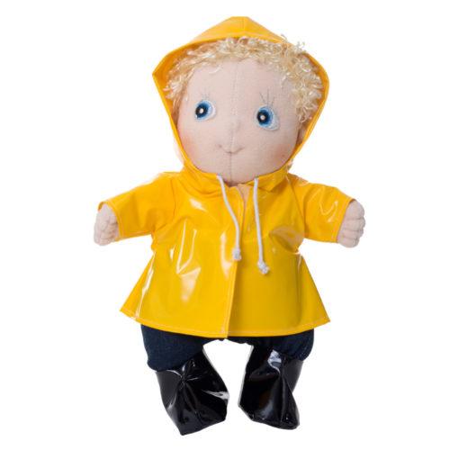 """Regentage Outfit gelbe Regenjacke und schwarze Gummistiefel """"rainy-day-set"""" fuer Rubens Barn Cutie Pppen angezogen"""
