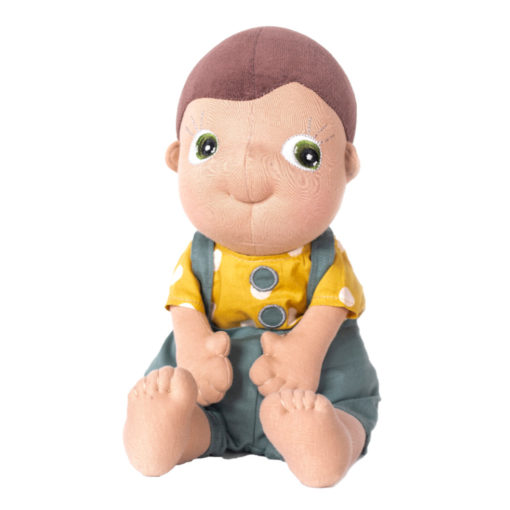 Rubens Barn Tummies: Fahren, PoC Junge mit gelbem Shirt und grauer Latzhose