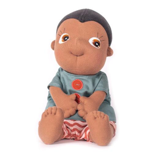 Rubens Barn Tummies Puppe Kevin: Schwarze Puppe mit gestreifter Hose und blaugrauem Shirt