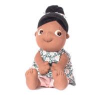 Rubens Barn Puppe Summer, Schwarze weibliche Puppe mit rosa Hose und geblümten Oberteil