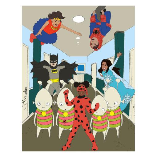 """Cover """"Wir Kinder aus dem Flüchtlingsheim"""" Innenseite mit Superheldinnen"""