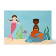 Postkarte Meerjungfrau mit Down Syndrom, Meermenschen, Schwarzer Meermensch