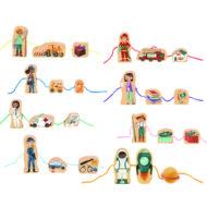 Übersicht aller Figuren. Je Set gibt es 3 Teile. Die Sets sind Bauer, Feuerwehr, Postbotin, Lehrerin, Doktorin, Angler, Polizistin, Astronaut.