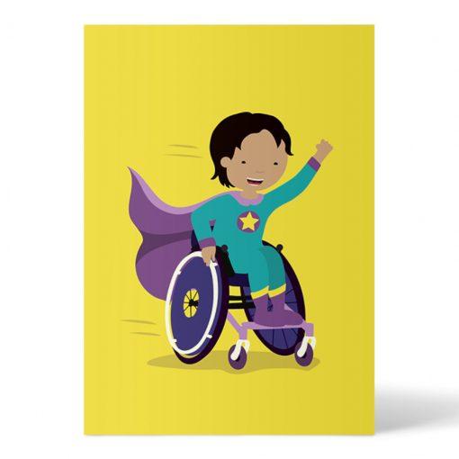Postkarte Superheldin im Rollstuhl gelb von Ellou