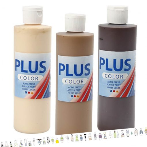 Hautfarbenset Acrylfarben 3x 250 ml Kindergarten Bastelbedarf